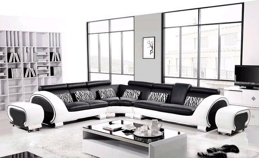 Black Leather Corner Sofa Promotion Shop For Promotional Black Regarding Black And White Sofas (#7 of 15)