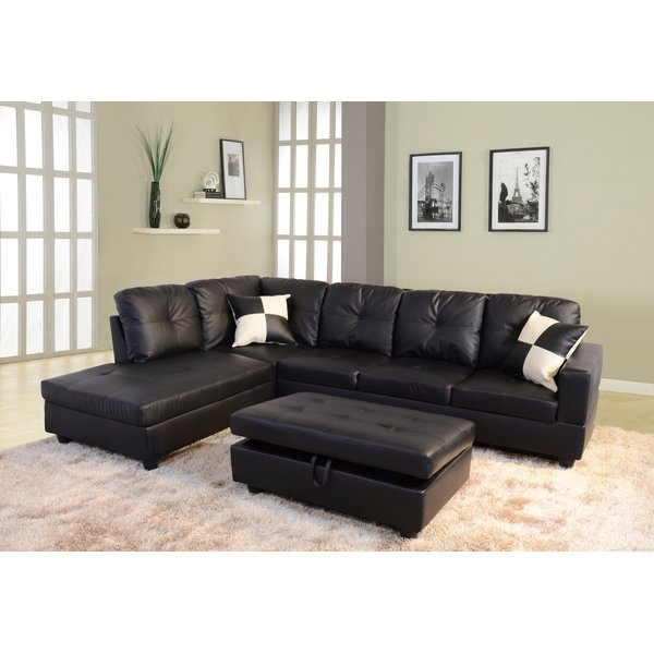 Popular Photo of Black Leather Sectional Sleeper Sofas