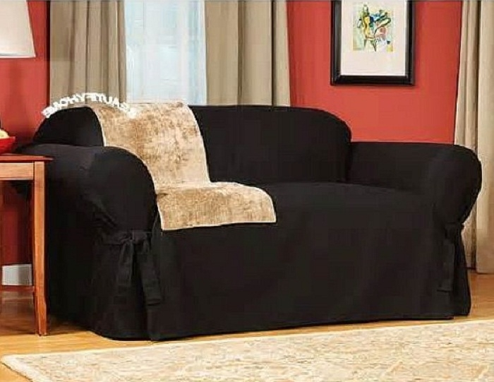 Popular Photo of Black Slipcovers For Sofas