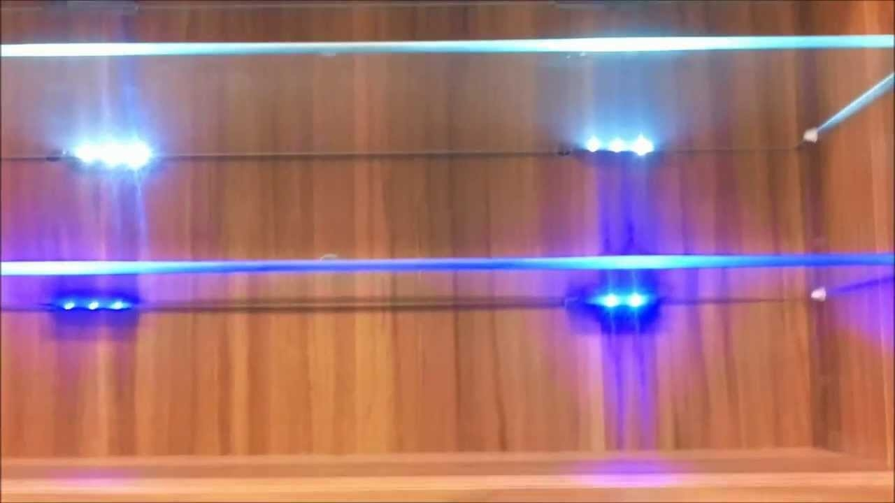 Blue Led Lights Edge Lit Glass Cabinet Shelf Backlighting How To Throughout Glass Shelves With Lights (#1 of 12)