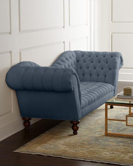 Blue Tufted Bolster Pillow Sofa For Blue Tufted Sofas (#5 of 15)