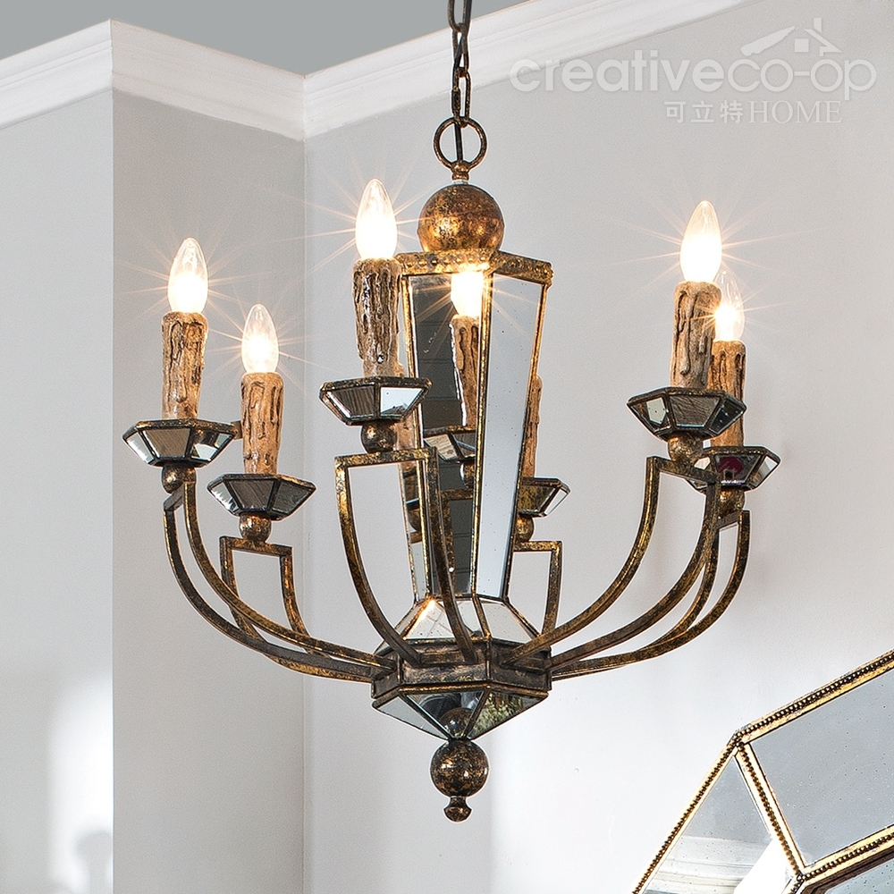 Bohemian Style Mdf Antique Glass Mirrored Chandelier With Mirrored Chandelier (#5 of 12)