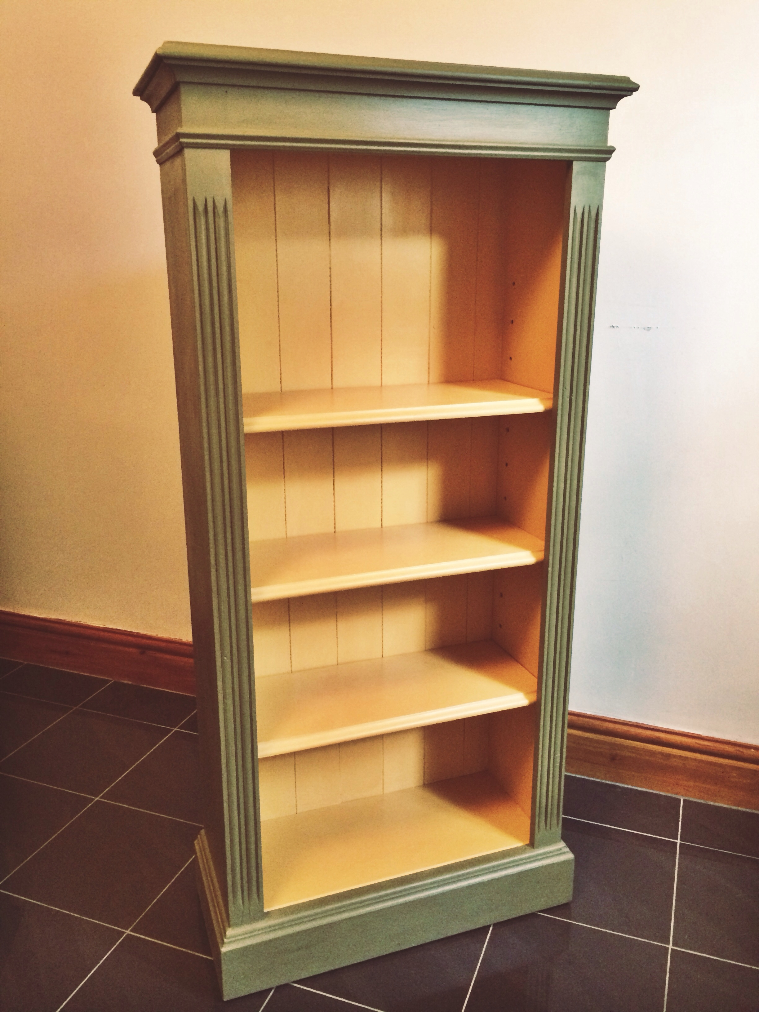 Bookcase Handpainted In Annie Sloan Olive And Arles Chalk Paint Pertaining To Hand Painted Bookcase (#4 of 15)