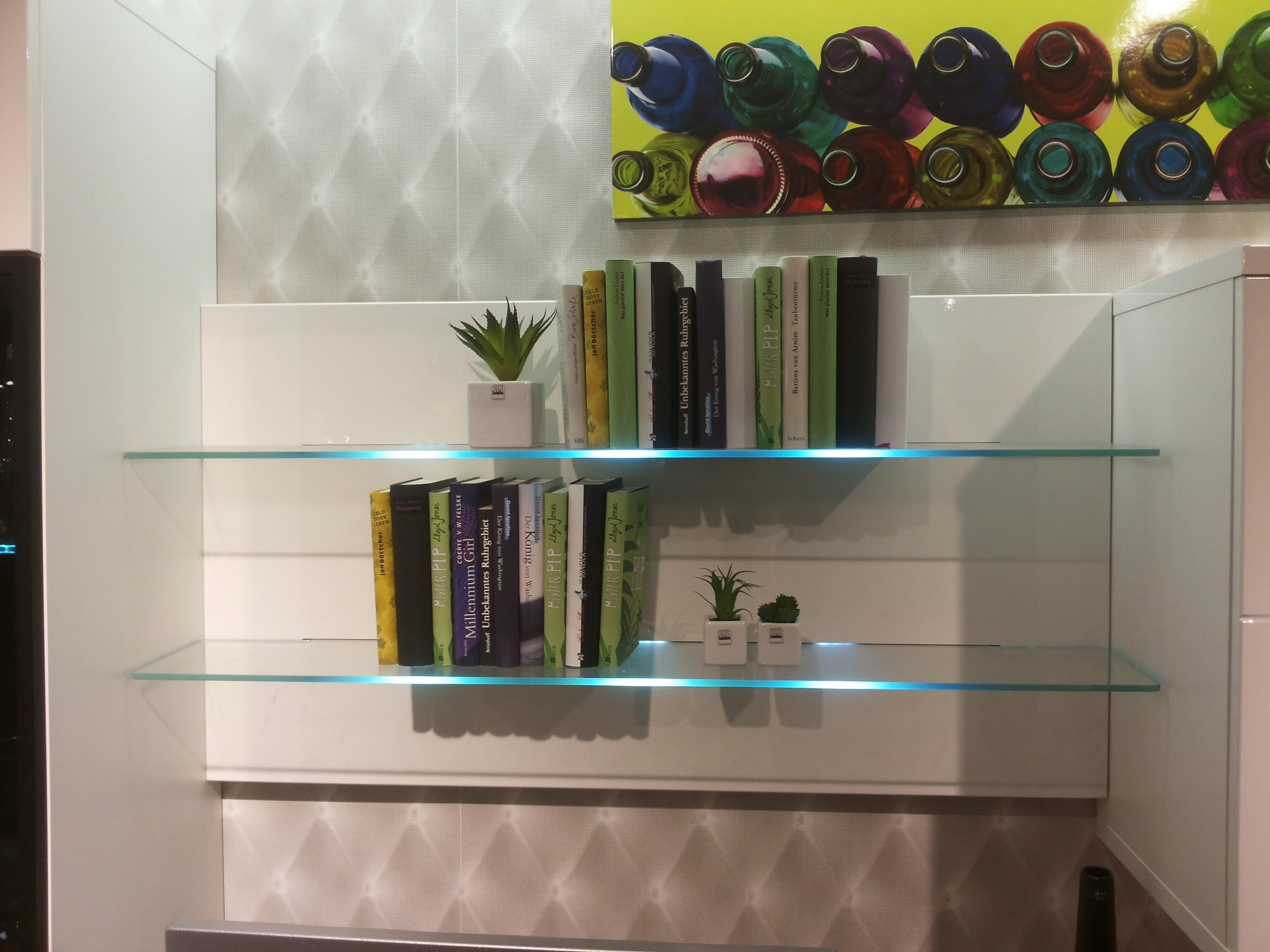 Bookcase With Led Glass Shelf Lights Led Wall Mounted Bar Shelf In Glass Shelves With Lights (#2 of 12)