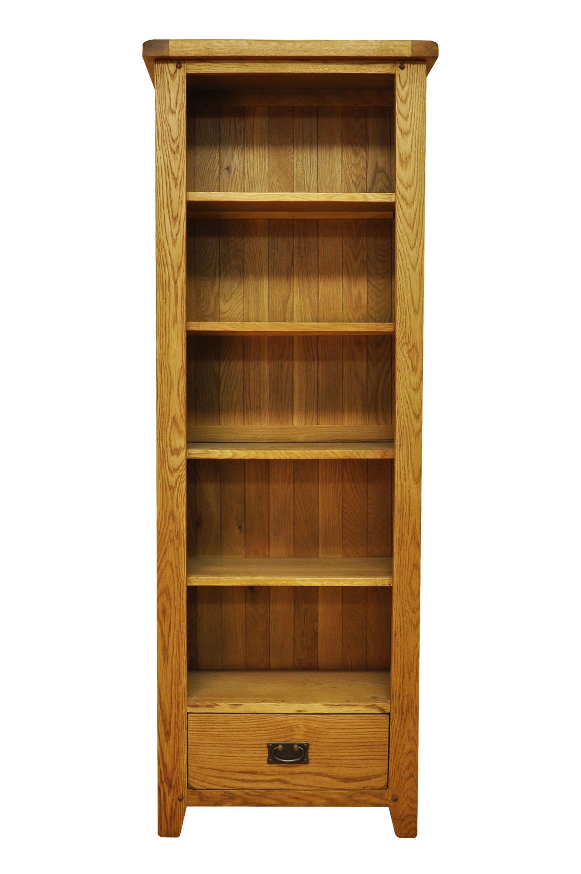 Bookcases Stanton Large Narrow Rustic Oak Bookcase With Pertaining To Oak Bookcases (View 9 of 15)