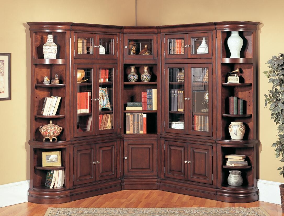Bookshelf Astonishing Corner Bookcase With Doors Captivating Within Corner Library Bookcase (#5 of 15)