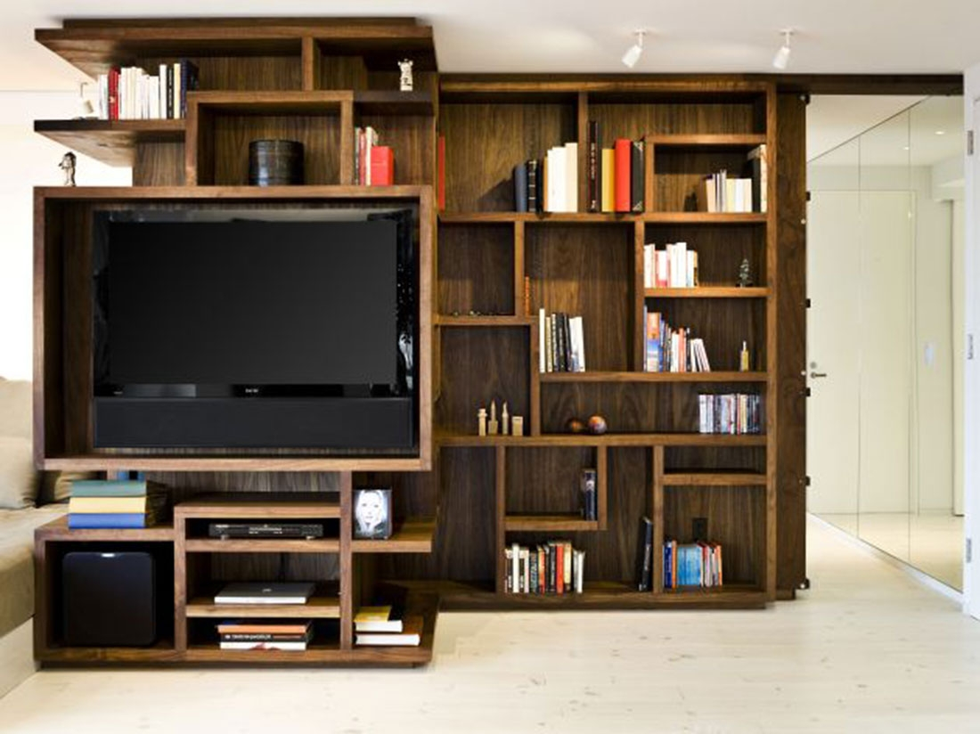 Bookshelf Designs Wooden New York City Apartment Wooden Bookcase For Bookshelf With Tv Space (View 4 of 15)