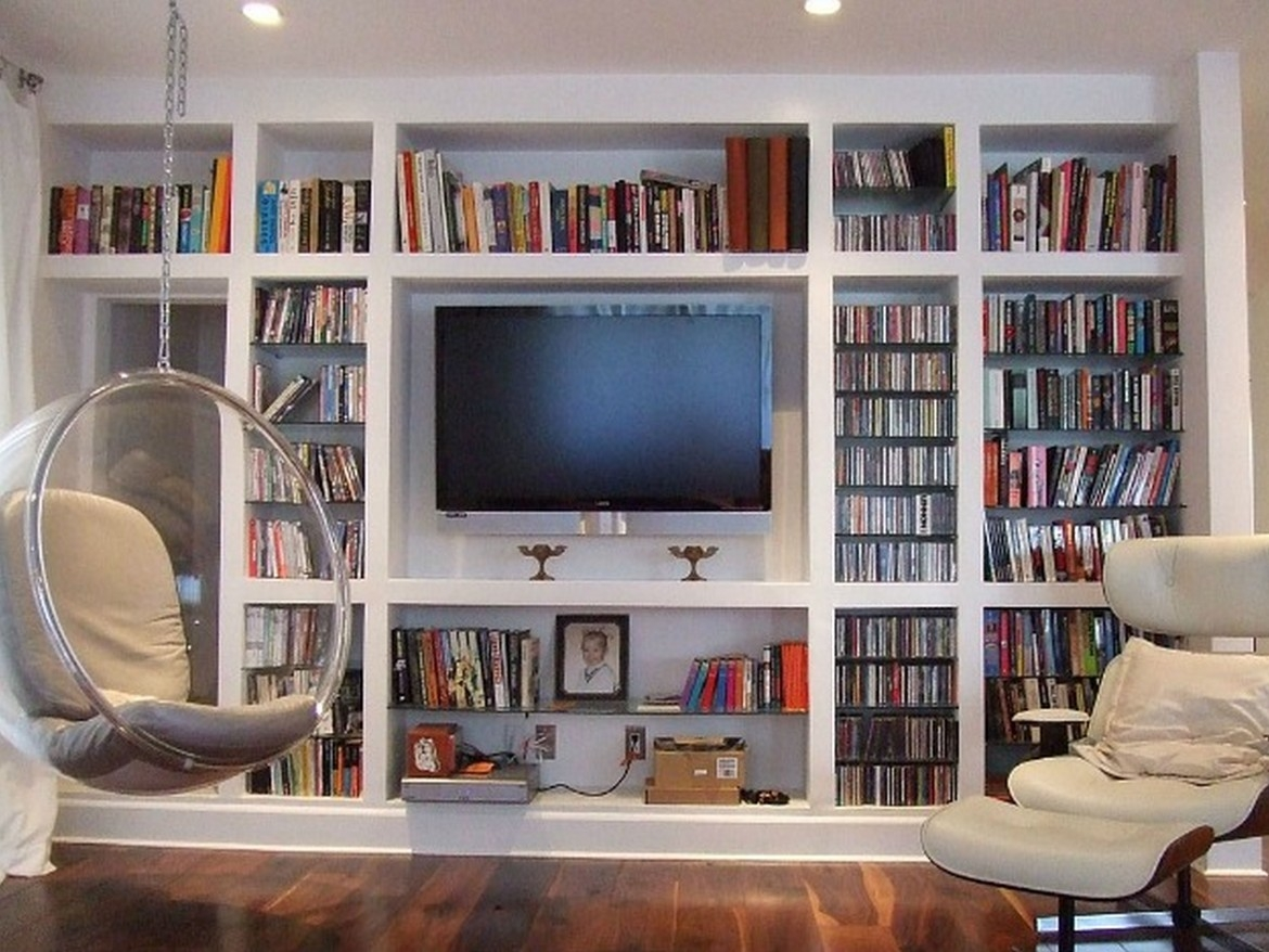 Bookshelves Hung On Wall Shelf Can Be Hung Positive Or Negative With Regard To Bookcase With Tv Storage (#5 of 15)