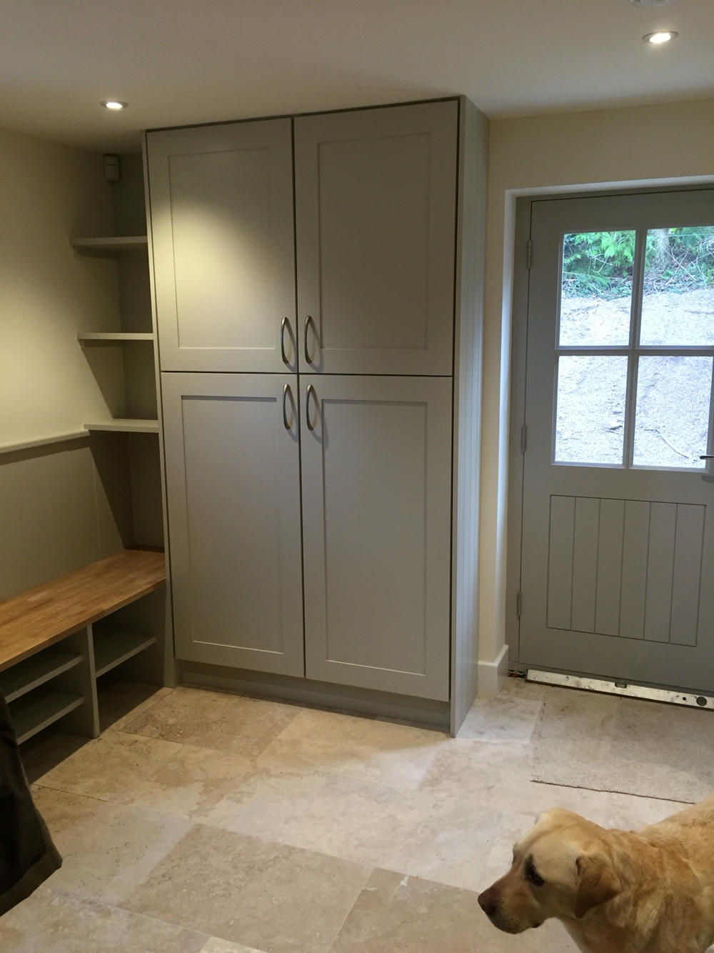 Boot Room Including Bench Seating Capped With Oak Bench Handmade Within Handmade Cupboards (Image 10 of 12)