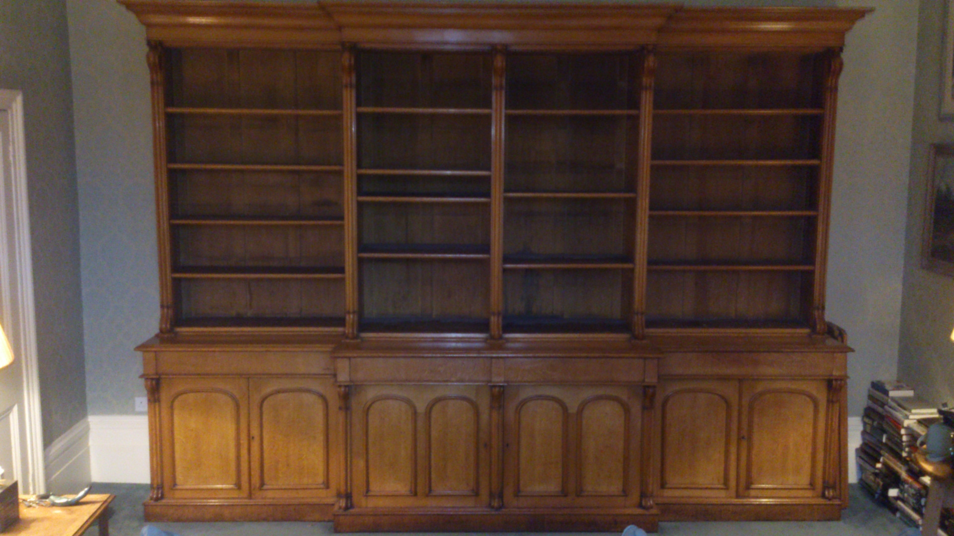 Breakfront Bookcases Hares Antiques Throughout Break Front Bookcase (#6 of 15)
