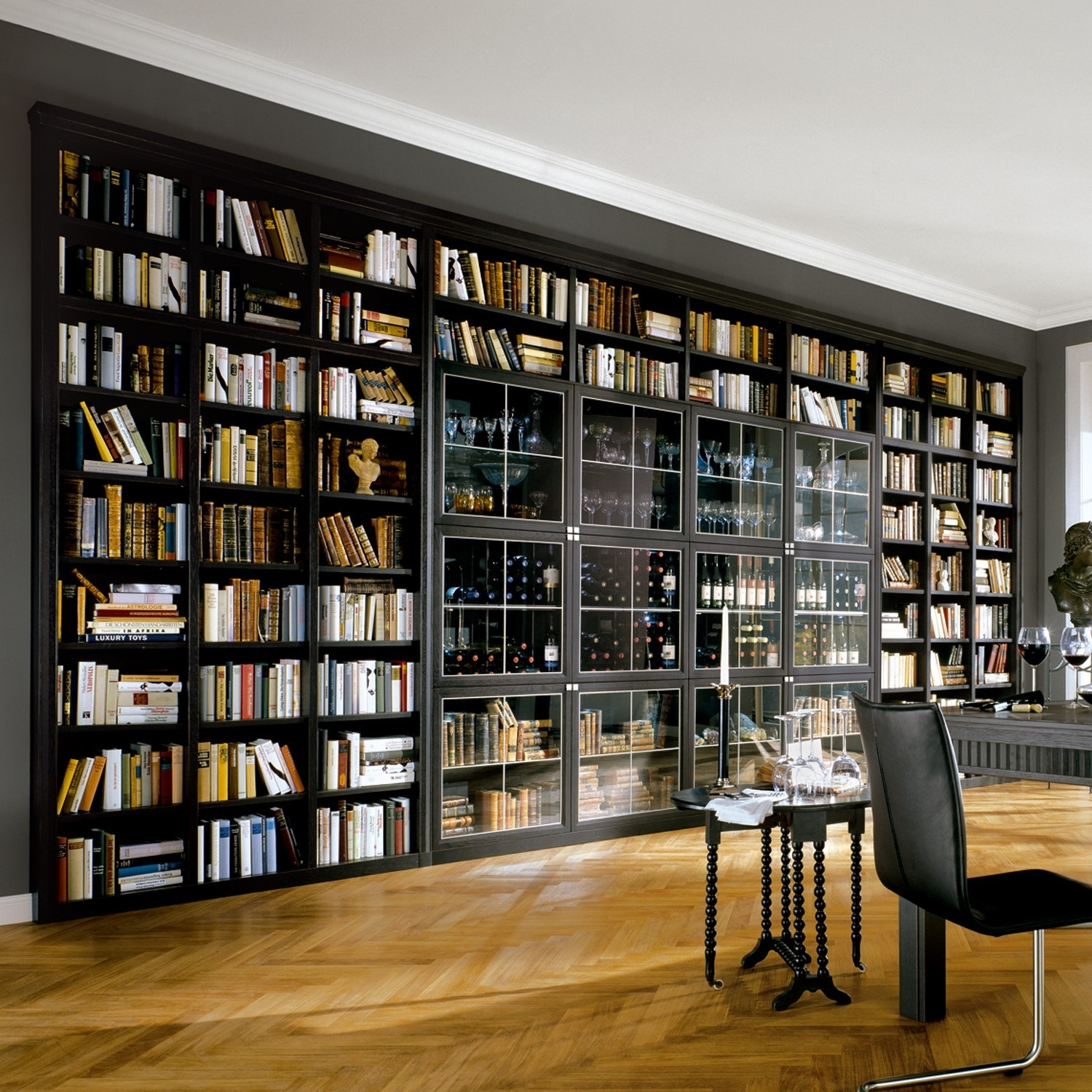 Breathtaking Home Library Featuring Huge Wall Bookshelf With Glass In Huge Bookshelf (#5 of 15)