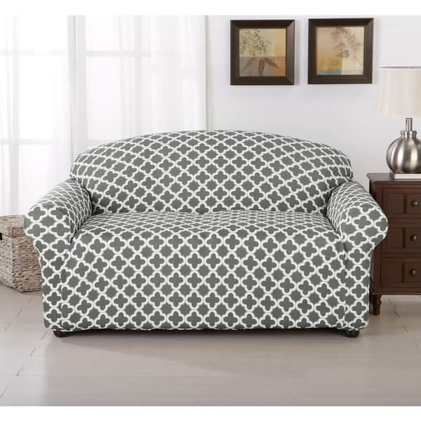 Brenna Collection Trellis Pattern Stretch Form Fitted Sofa Slip Within 68 Inch Sofas (#5 of 15)