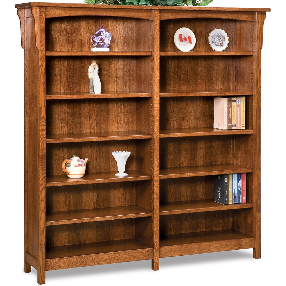 Bridger Mission 10 Shelf Double Bookcase Amish Handmade Inside Handmade Bookcases (#3 of 15)