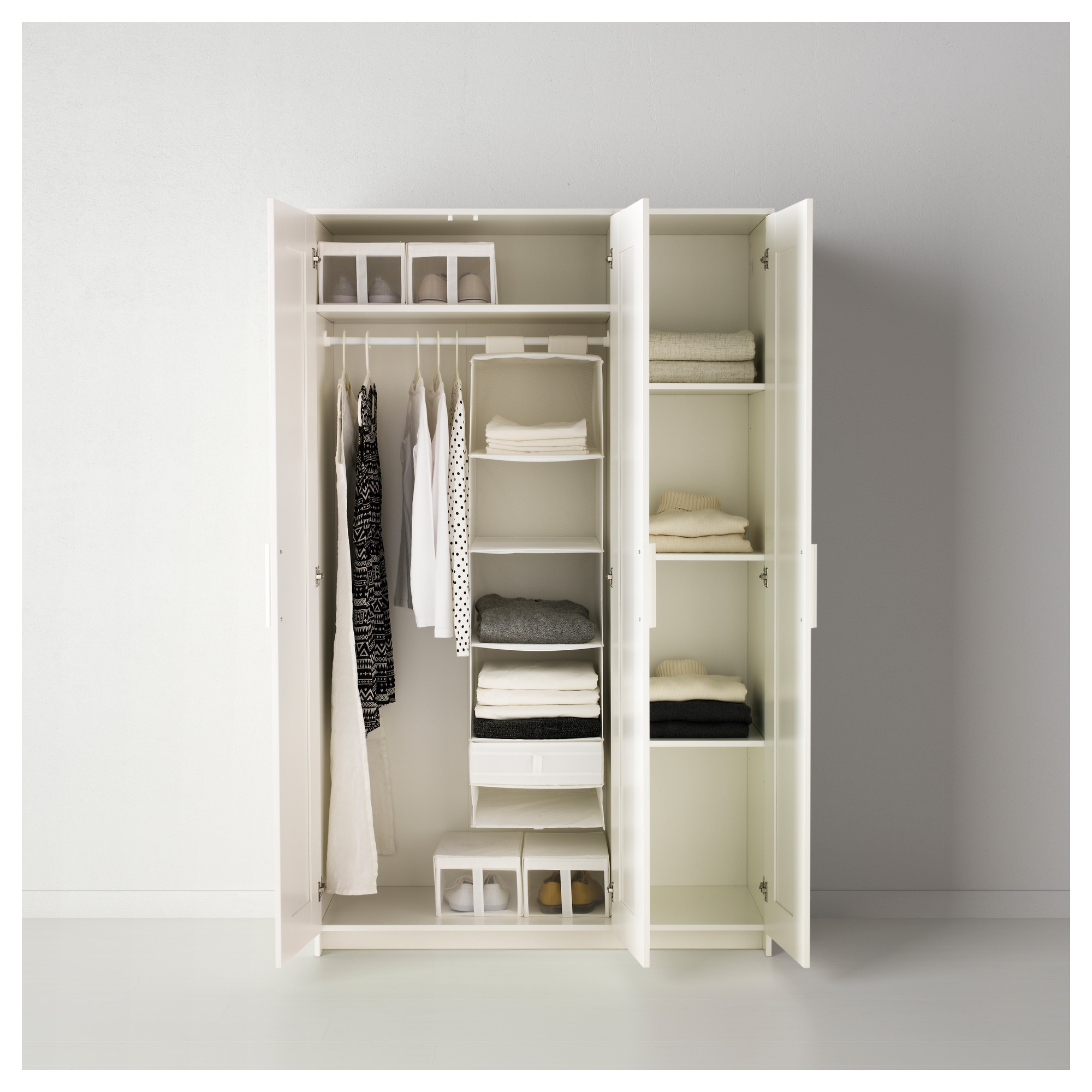 Brimnes Wardrobe With 3 Doors White Ikea Throughout Wardrobes With Shelves (View 6 of 15)