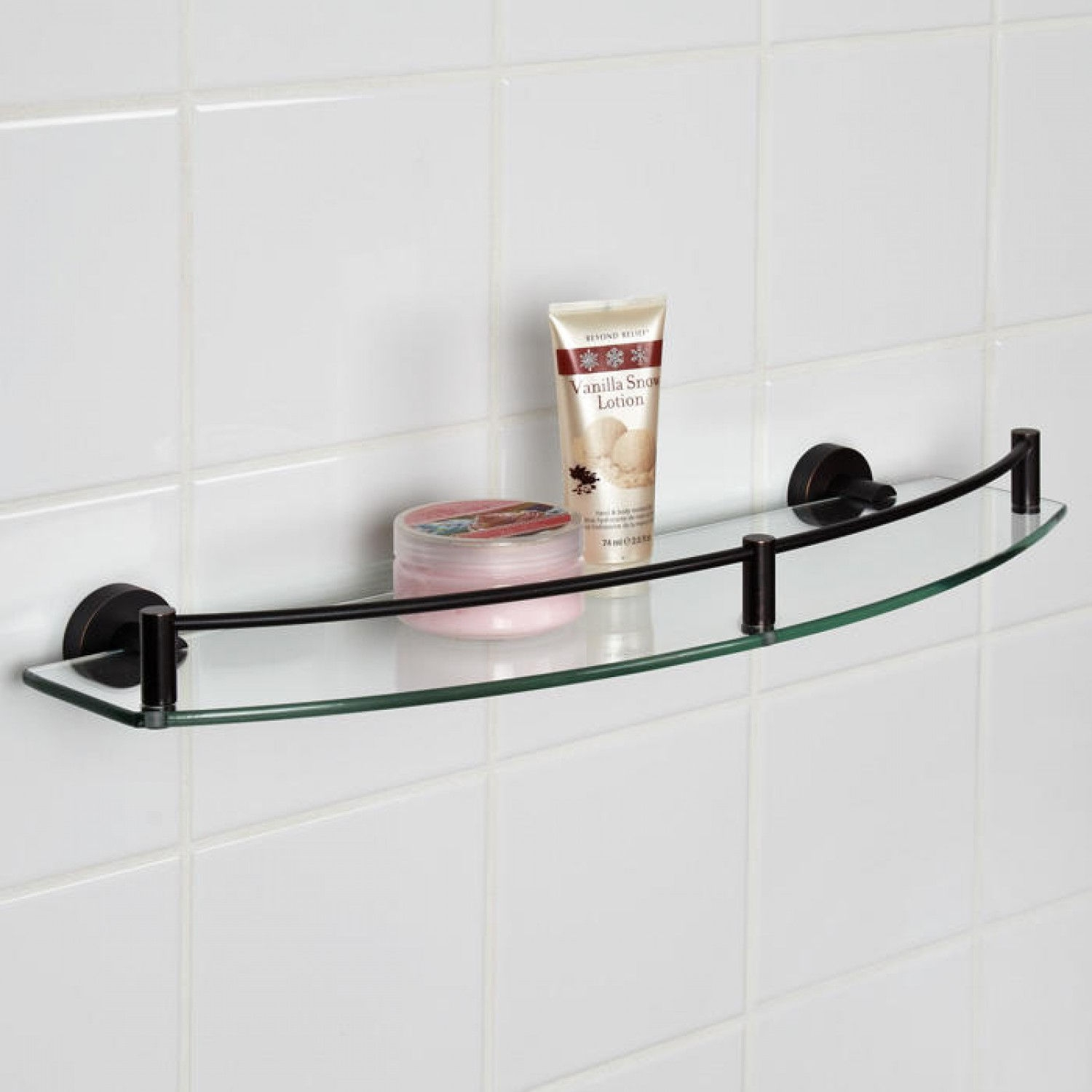 Bristow Curved Tempered Glass Shelf Bathroom Pertaining To Glass Shelves (#1 of 12)