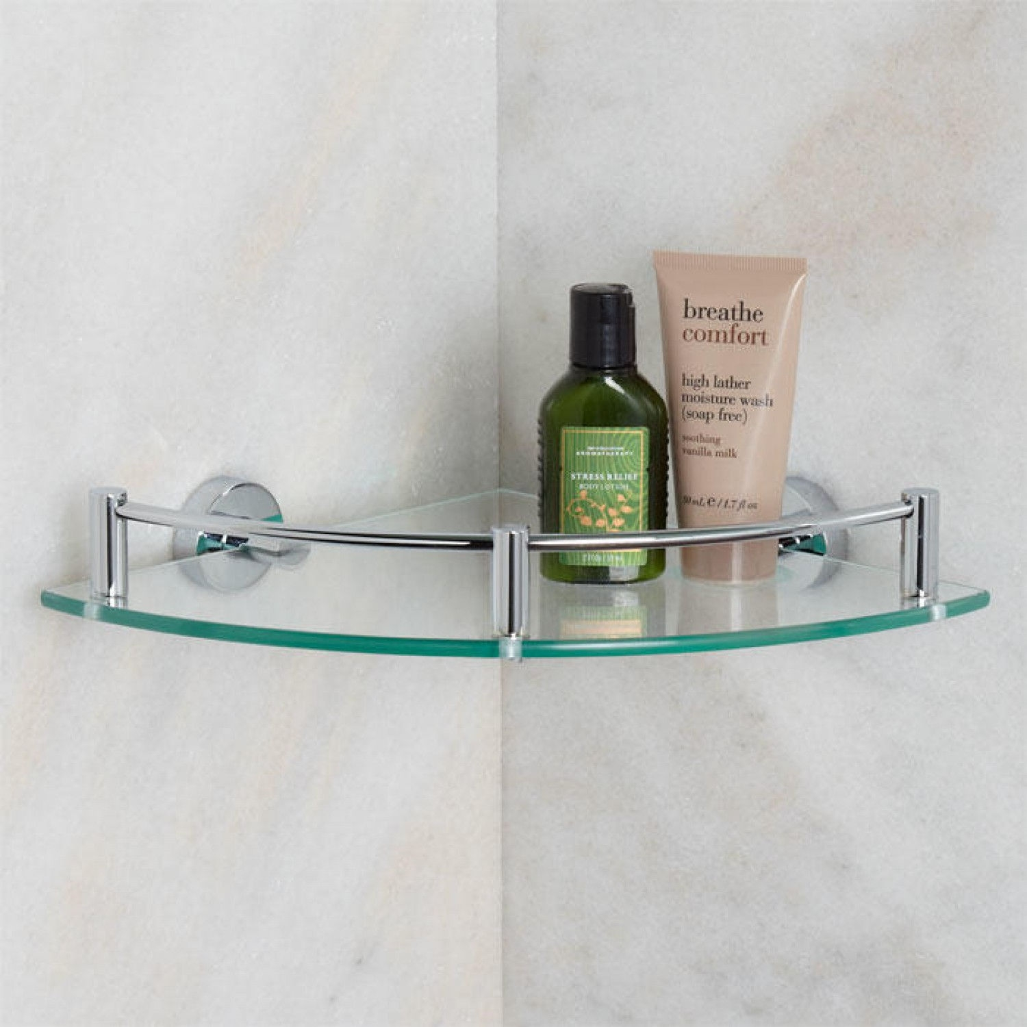 Bristow Tempered Glass Corner Shelf Bathroom Within Glass Corner Shelves (#3 of 12)