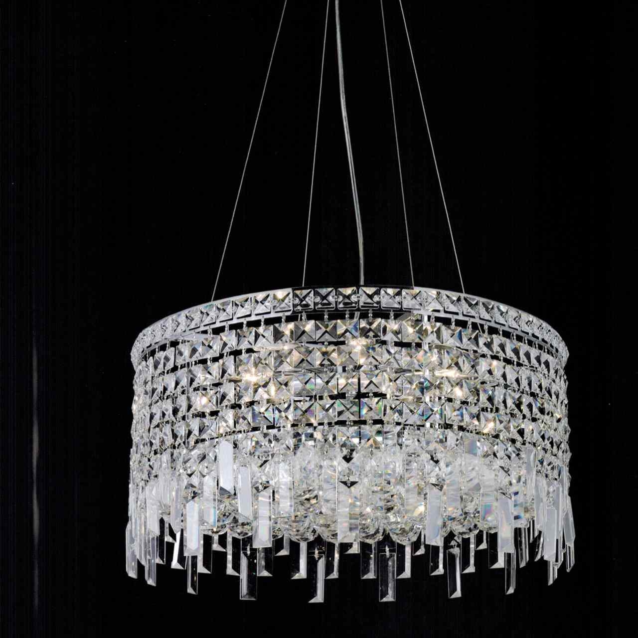 Brizzo Lighting Stores 16 Bossolo Transitional Crystal Round Regarding Chrome And Crystal Chandelier (#5 of 12)