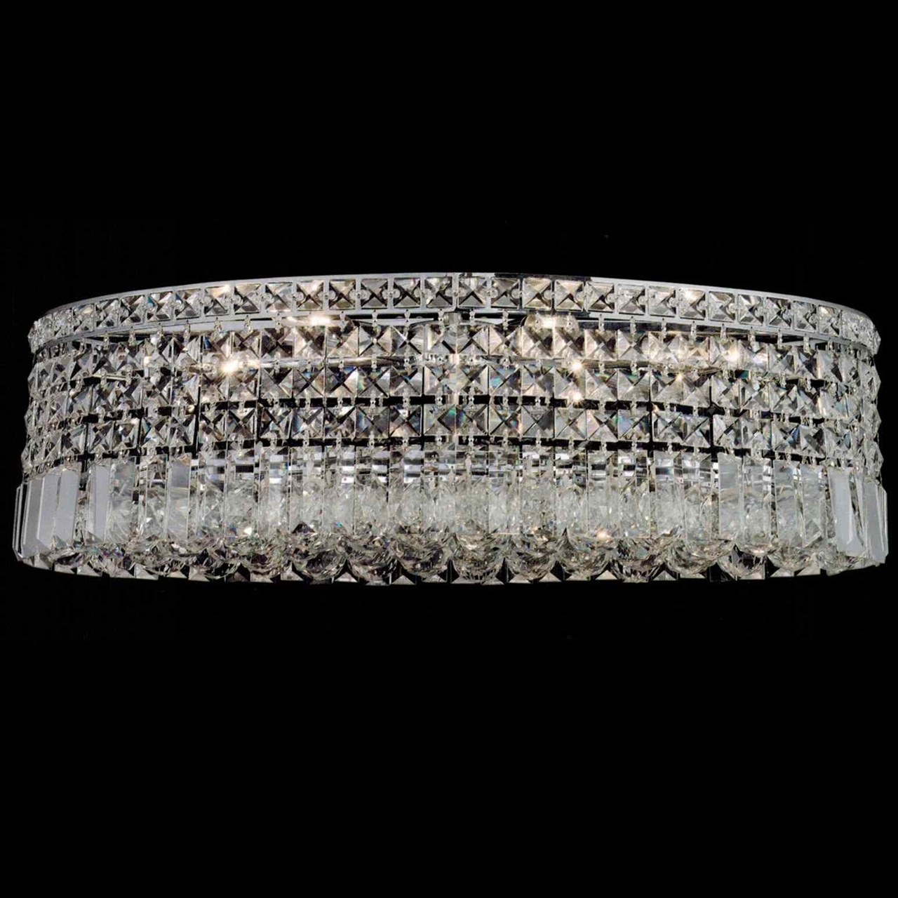 Brizzo Lighting Stores 16 Bossolo Transitional Crystal Round With Flush Chandelier (#4 of 12)