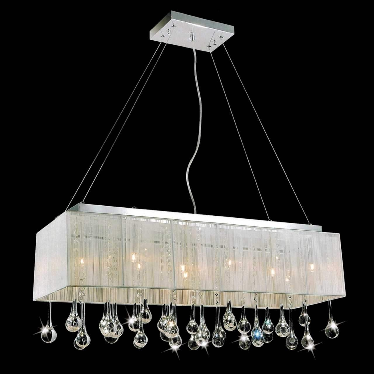 Brizzo Lighting Stores 32 Gocce Modern String Shade Crystal With Regard To Modern White Chandelier (#1 of 12)