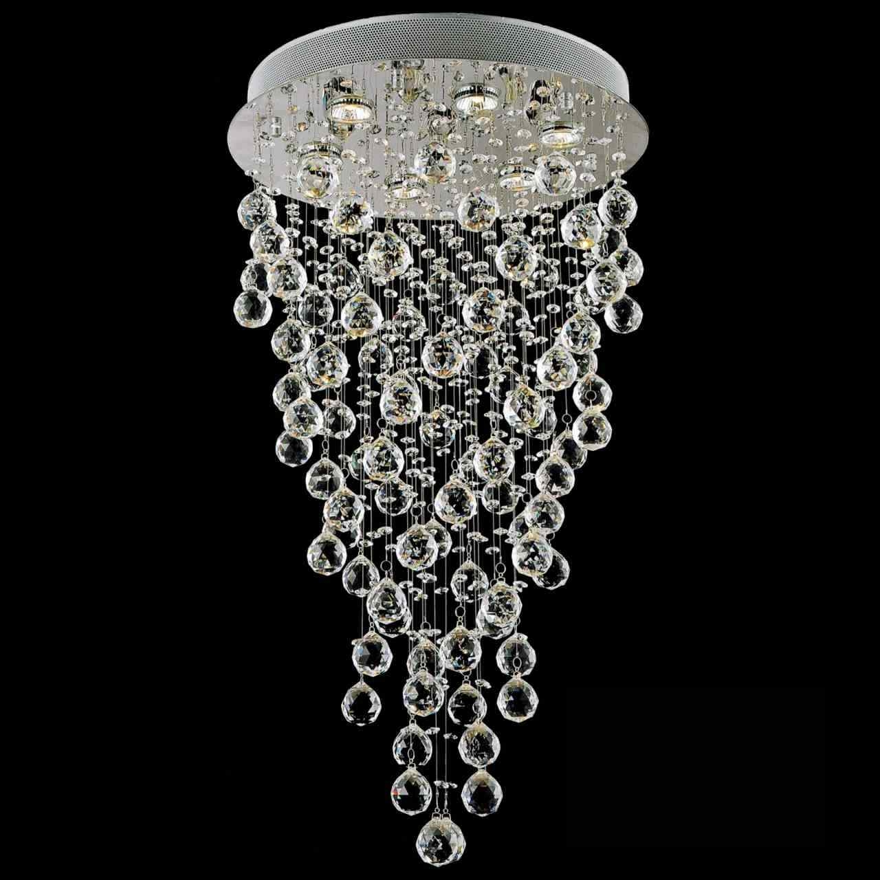 Brizzo Lighting Stores 32 Raindrops Modern Foyer Crystal Round Throughout Chandelier Mirror (#2 of 12)