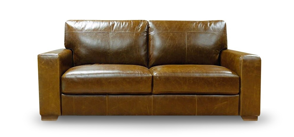 Broadway 3 3 Seater Antique Brown Semi Aniline Leather In Aniline Leather Sofas (#7 of 15)