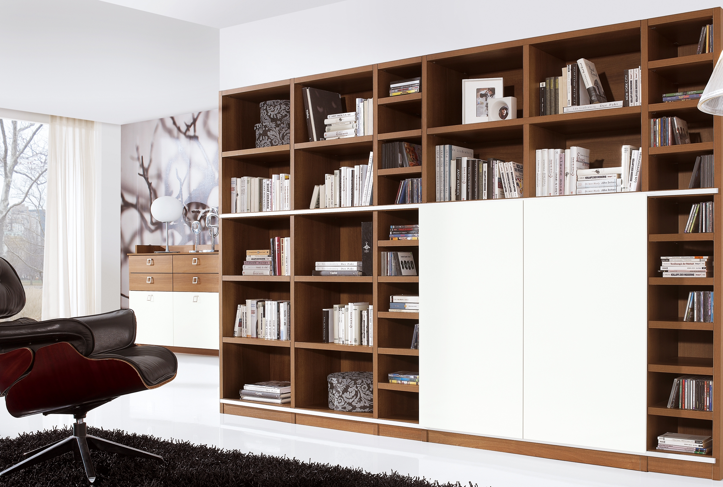 Brown And White Wooden Tv Cabinets With Doors For Hidden Tv Wall Intended For Tv Unit With Bookcase (View 8 of 15)