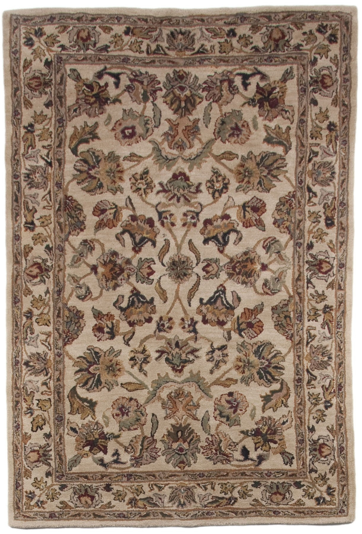 Brown Beige Gold Green Traditional Persian Hand Tufted Wool Area With Green Wool Area Rugs (#4 of 15)
