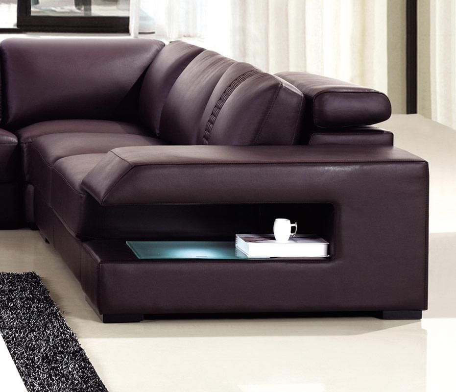 Brown Leather Sectional Sofa With Built In Coffee Table And Lights With Regard To Sofas With Lights (#3 of 15)