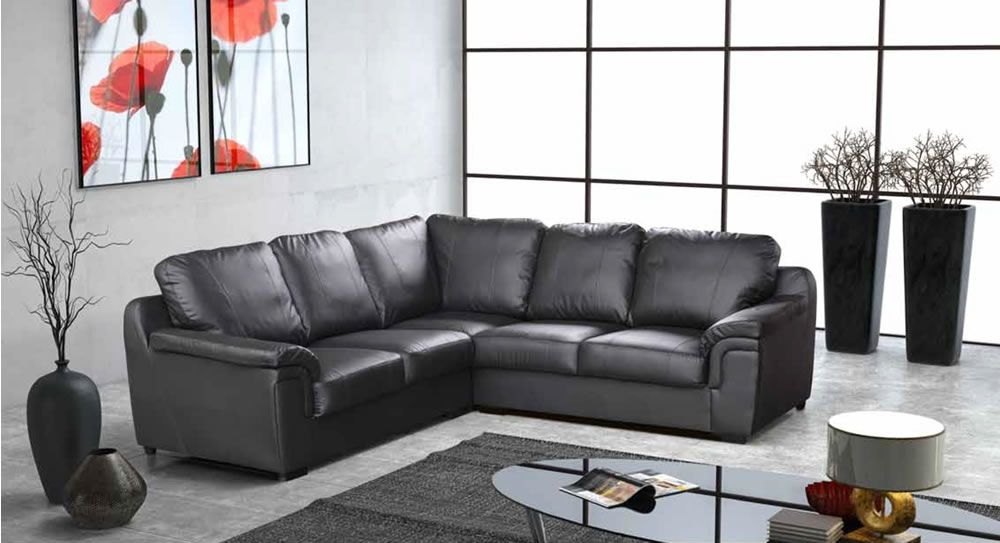 Brown Or Cream Large Leather Corner Sofa Sofas Direct Intended For Large Black Leather Corner Sofas (#4 of 15)