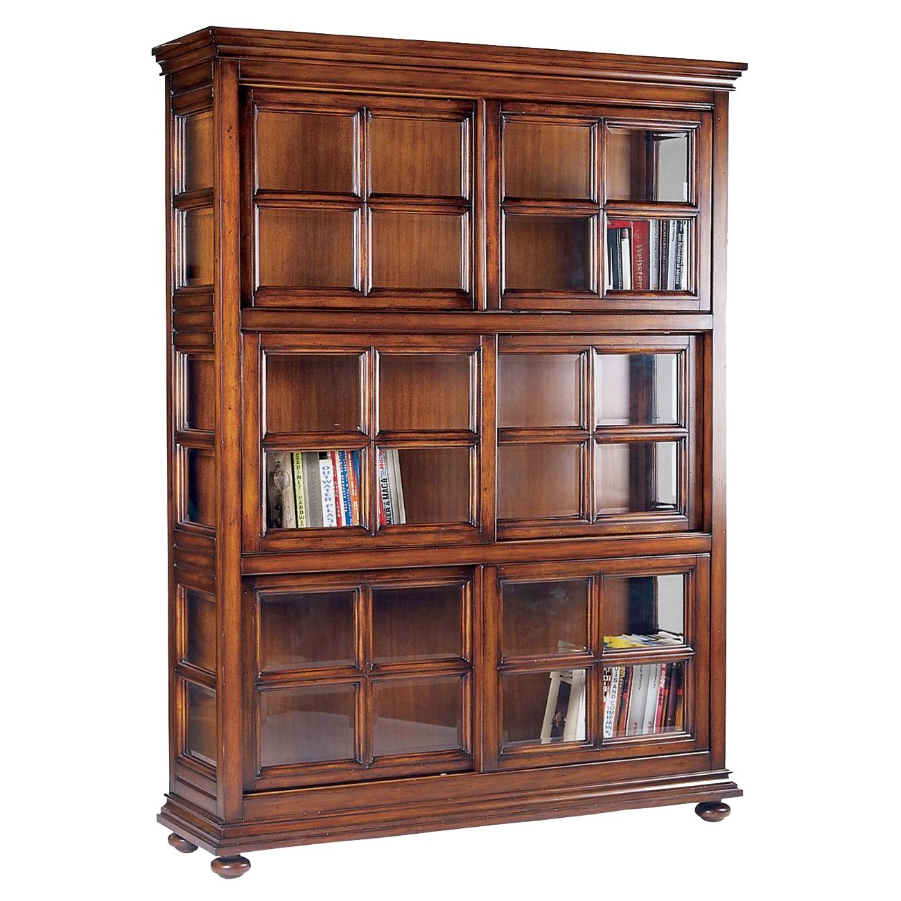 Brown Wooden Bookshelves Features Glass Door Of Cool Interior And For Wooden Bookshelves (#2 of 14)