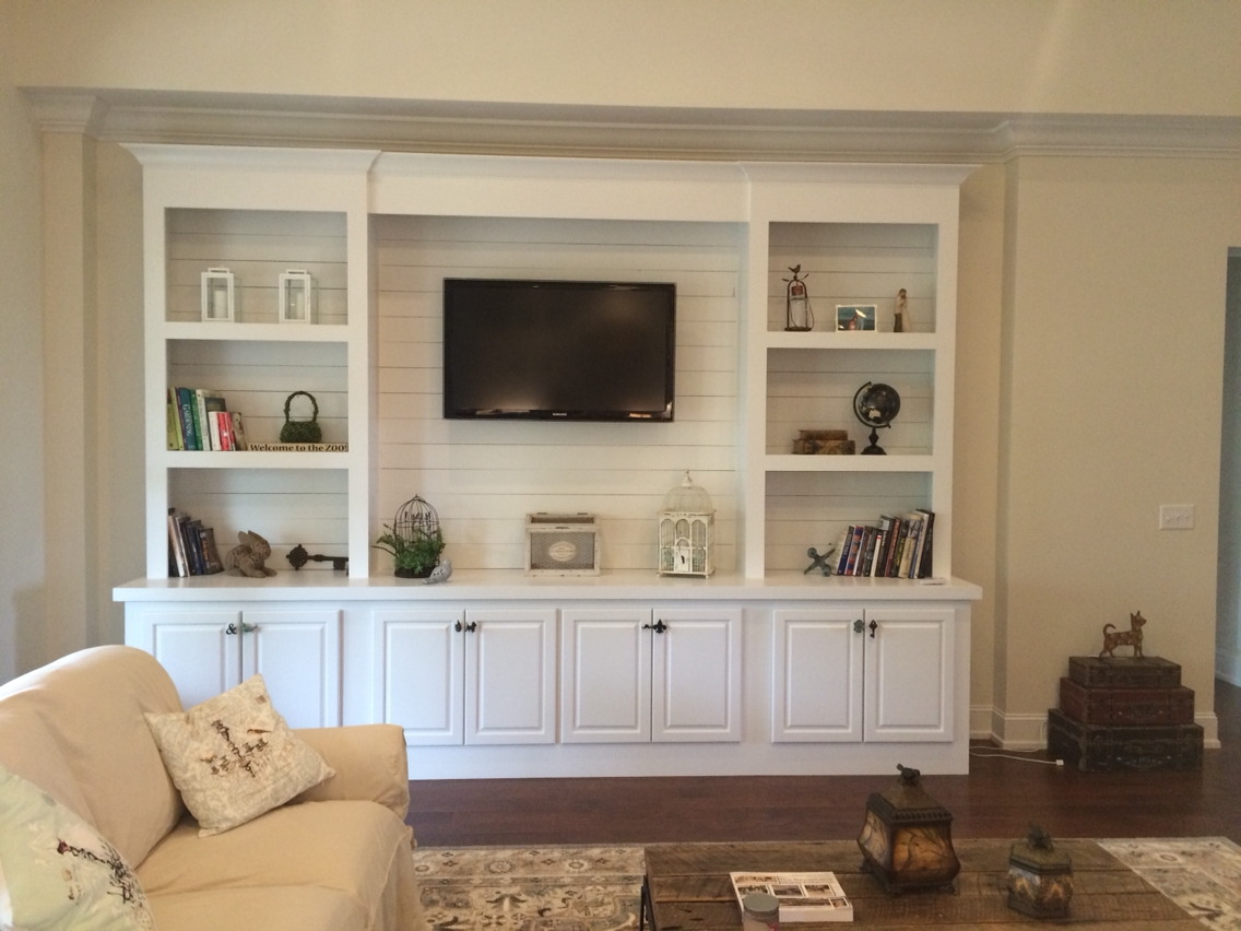 Built In Bookcase With Shiplap Back Pallet Tv Stands Within Built In Bookcases With Tv (#4 of 15)