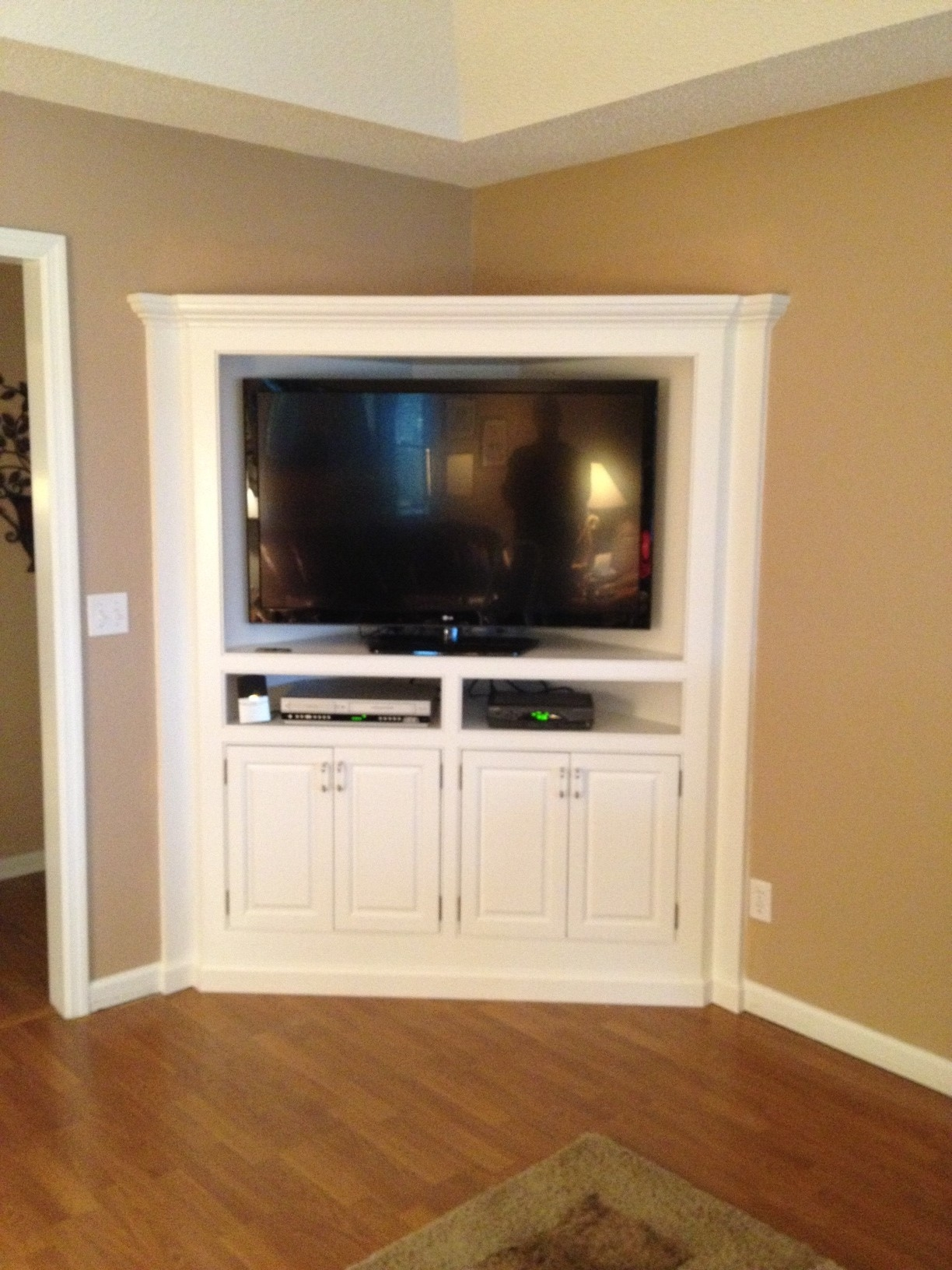 Built In Corner Tv Cabinet Counter Refinished Cabinet Custom In Tv Corner Shelf Unit (#2 of 15)