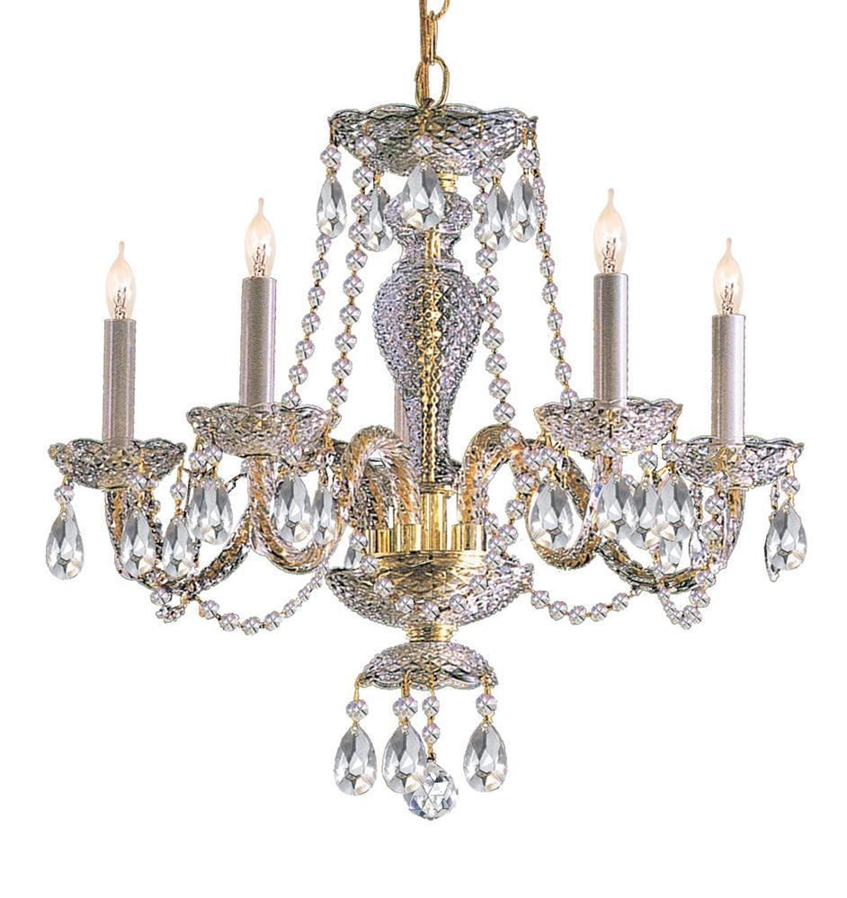 Buy 5 Lights Polished Brass Crystal Chandelier Intended For Brass And Crystal Chandelier (#7 of 12)
