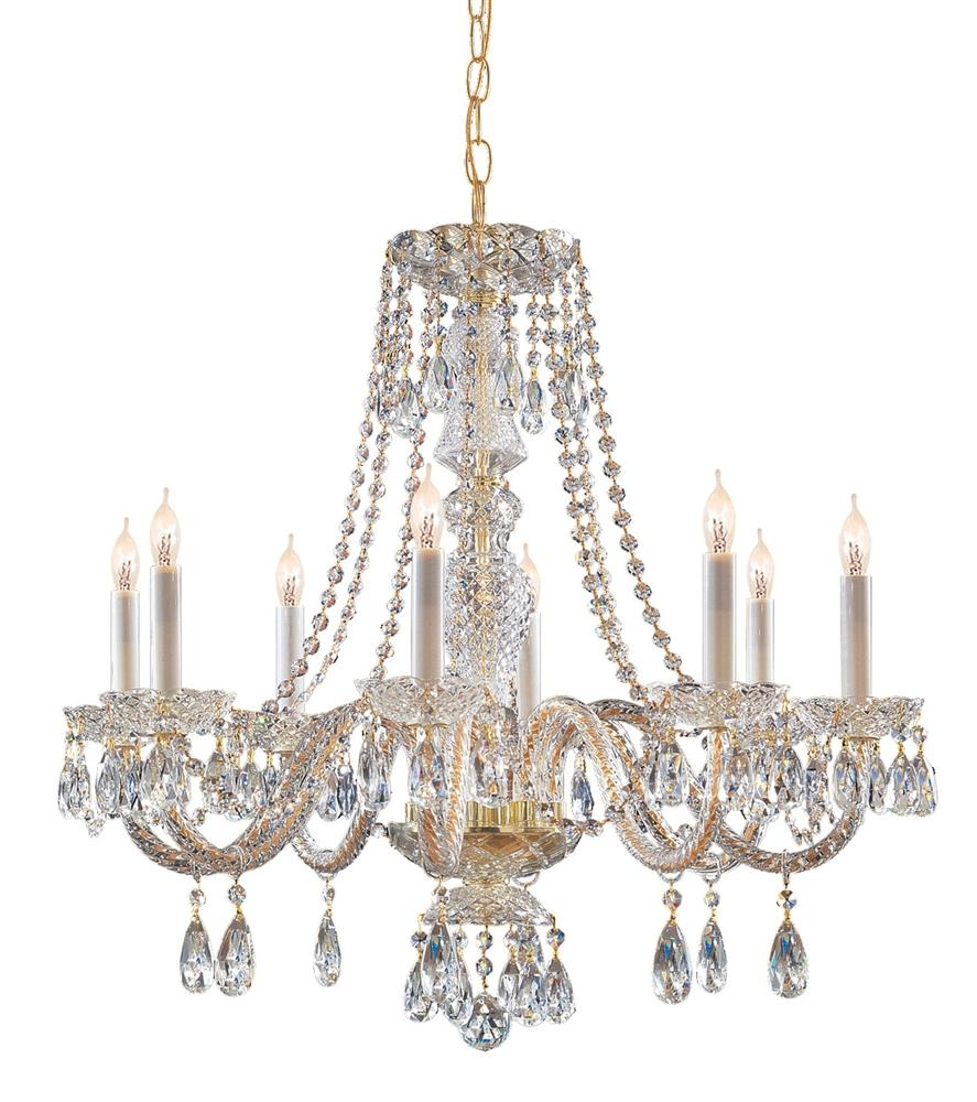 Buy 5 Lights Polished Brass Crystal Chandelier With Regard To Brass And Crystal Chandeliers (#6 of 12)