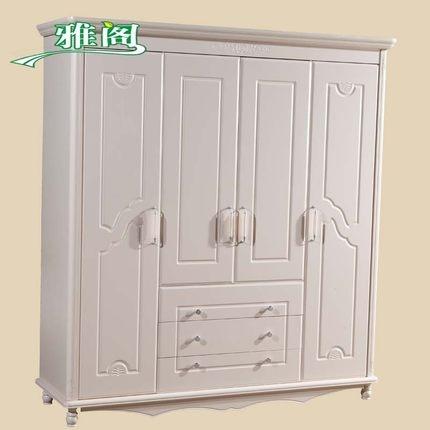 Buy Korean Garden Accord Four Flat Sliding Wardrobe Armoire For White Wardrobe Armoire (View 5 of 15)