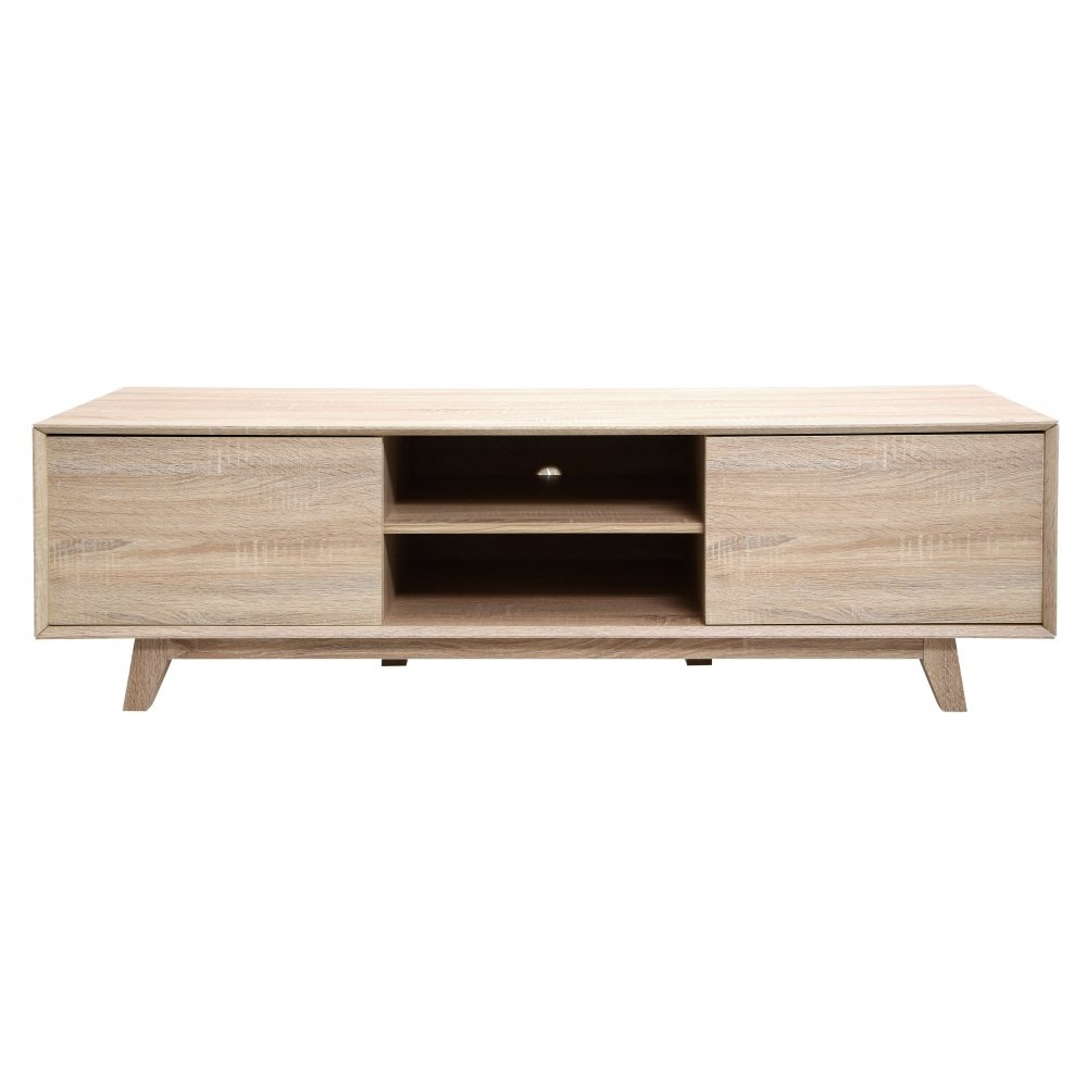 Buy Light Oak Veneer Low Media Unit From Fusion Living For Low Media Unit (#3 of 15)