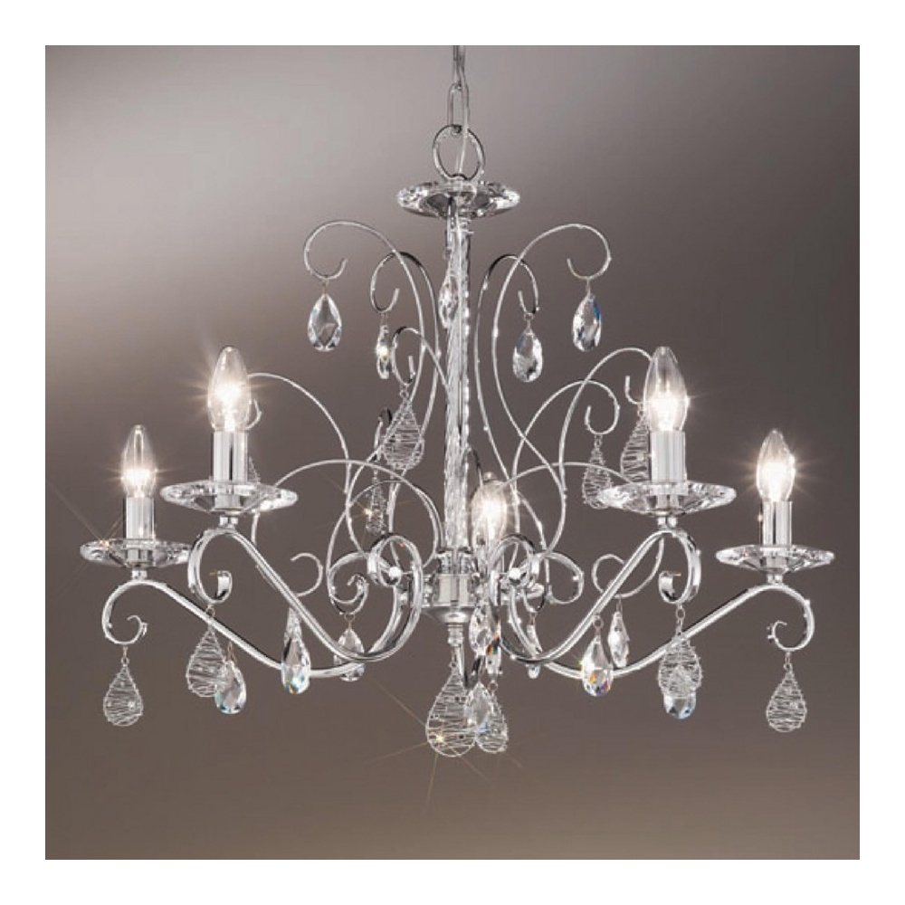 Buy Swarovski Crystal Chandeliers From Kolarz Kolarz Principessa Inside Chrome And Crystal Chandelier (#7 of 12)