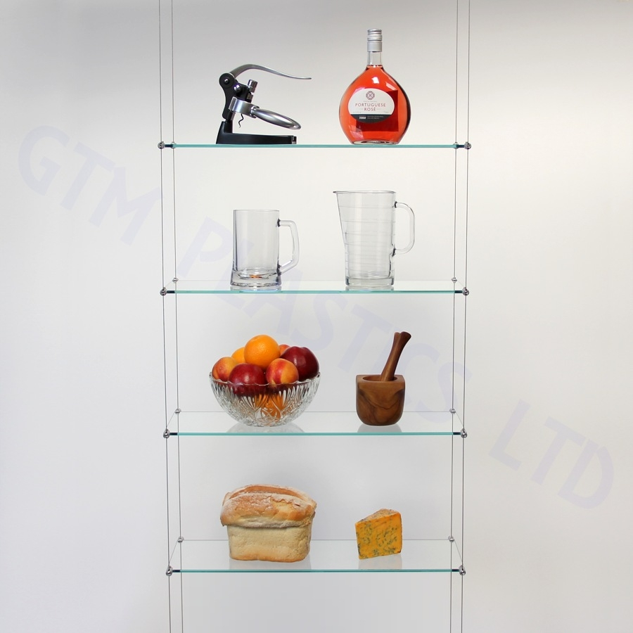 Cable Shelving Kit Four 200 X 600 Glass Shelves With Suspended Glass Display Shelves (#4 of 12)