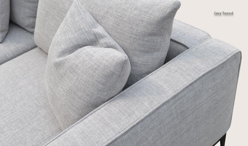 California Sofa In Grey Tweed Fabric Buy Fabric Sofas Living Room Within Tweed Fabric Sofas (#2 of 15)