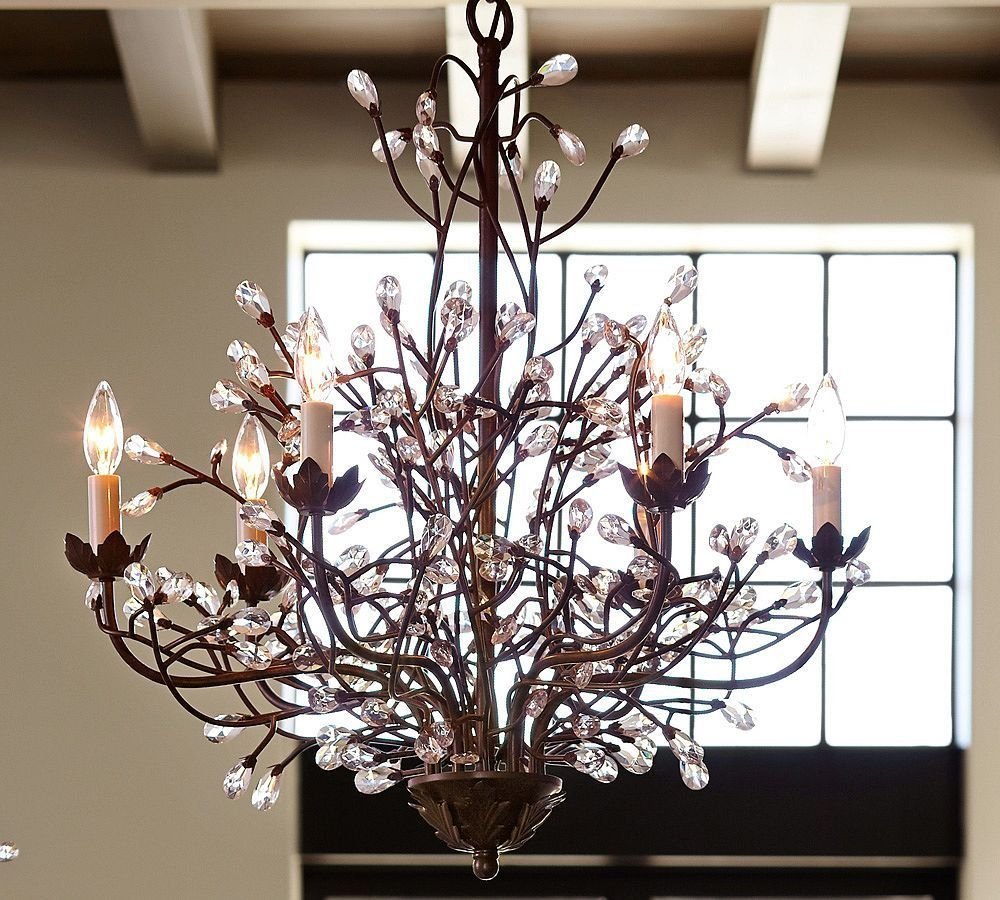 Camilla Chandelier Pottery Barn Chandeliers Crystal Modern Inside Branch Crystal Chandelier (#5 of 12)