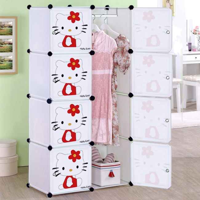 Cartoon Child Simple Wardrobe Ba Wardrobe Folding Toy Storage Intended For Cheap Baby Wardrobes (View 9 of 15)