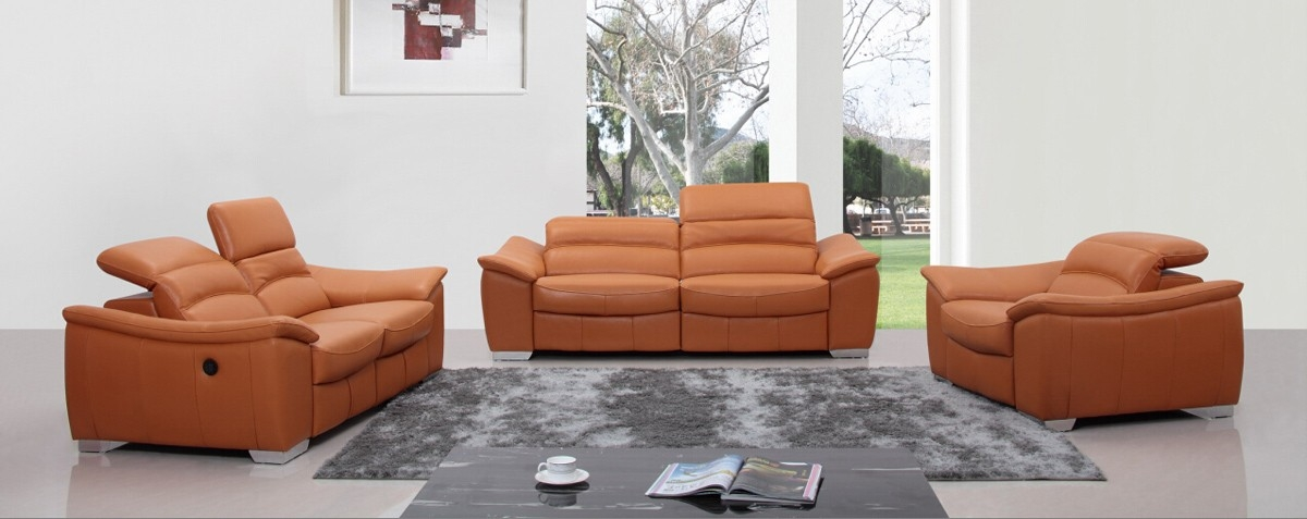 Catchy Orange Leather Sofa Set Orange Leather Sofa Amedaprime In Modern Reclining Leather Sofas (#3 of 15)