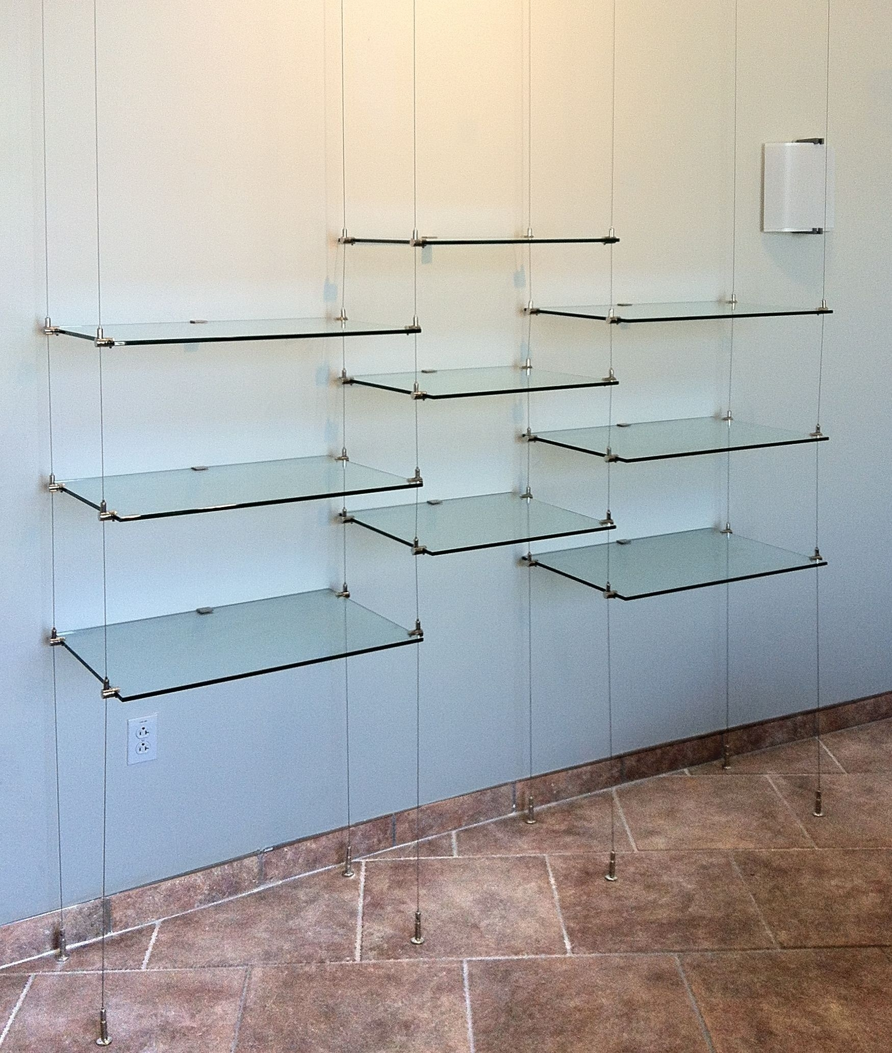 Ceiling Hanging Shelves Kitchen Kitchen Shelf Glass On Stainless Pertaining To Suspended Glass Shelves (#2 of 15)