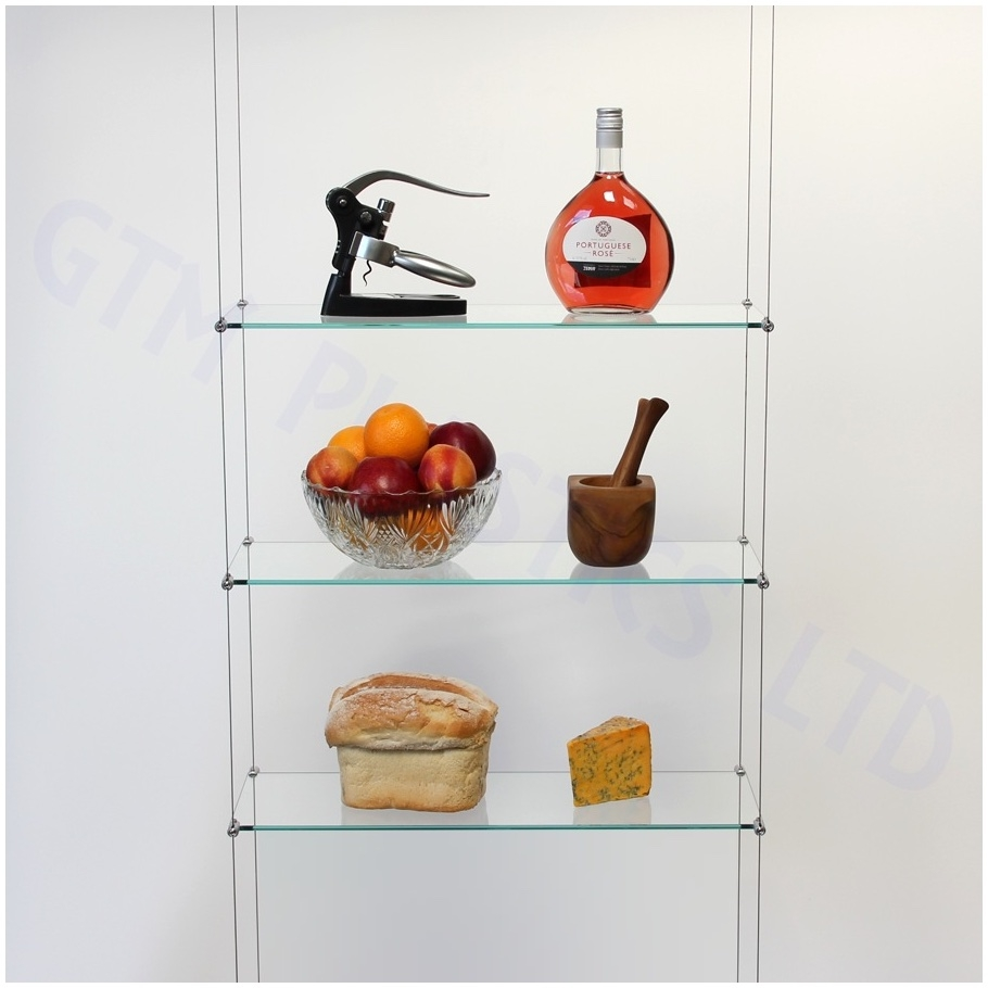 Ceiling Suspended Glass Shelf Shelving System Hanging Contemporary In Cable Glass Shelf System (#4 of 12)