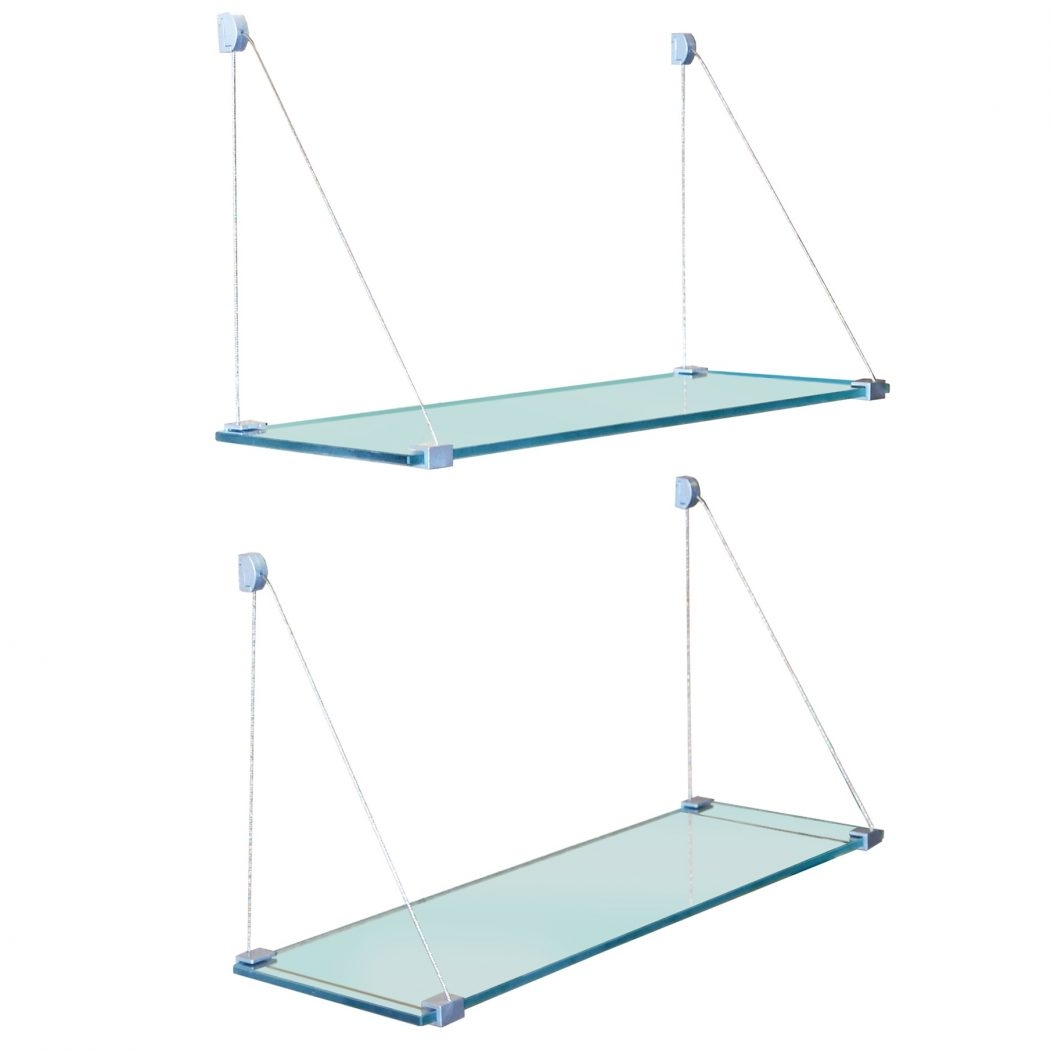 Ceiling Suspended Glass Shelves Products Glass Display Cabinets Within Suspended Glass Display Shelves (#8 of 12)
