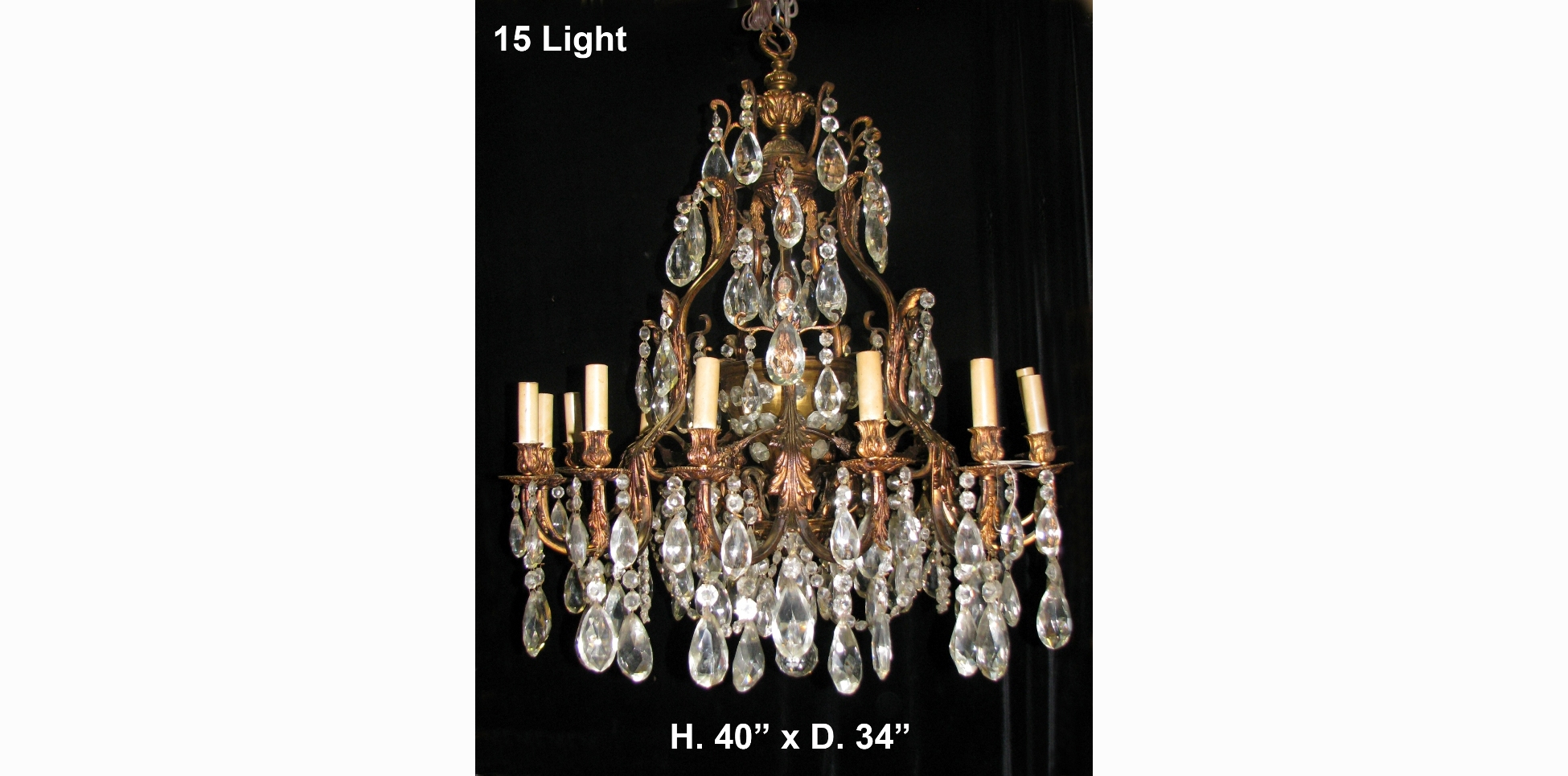 Ch42 Large Antique Spanish Cut Crystal And Bronze 15 Light For Large Bronze Chandelier (#1 of 12)