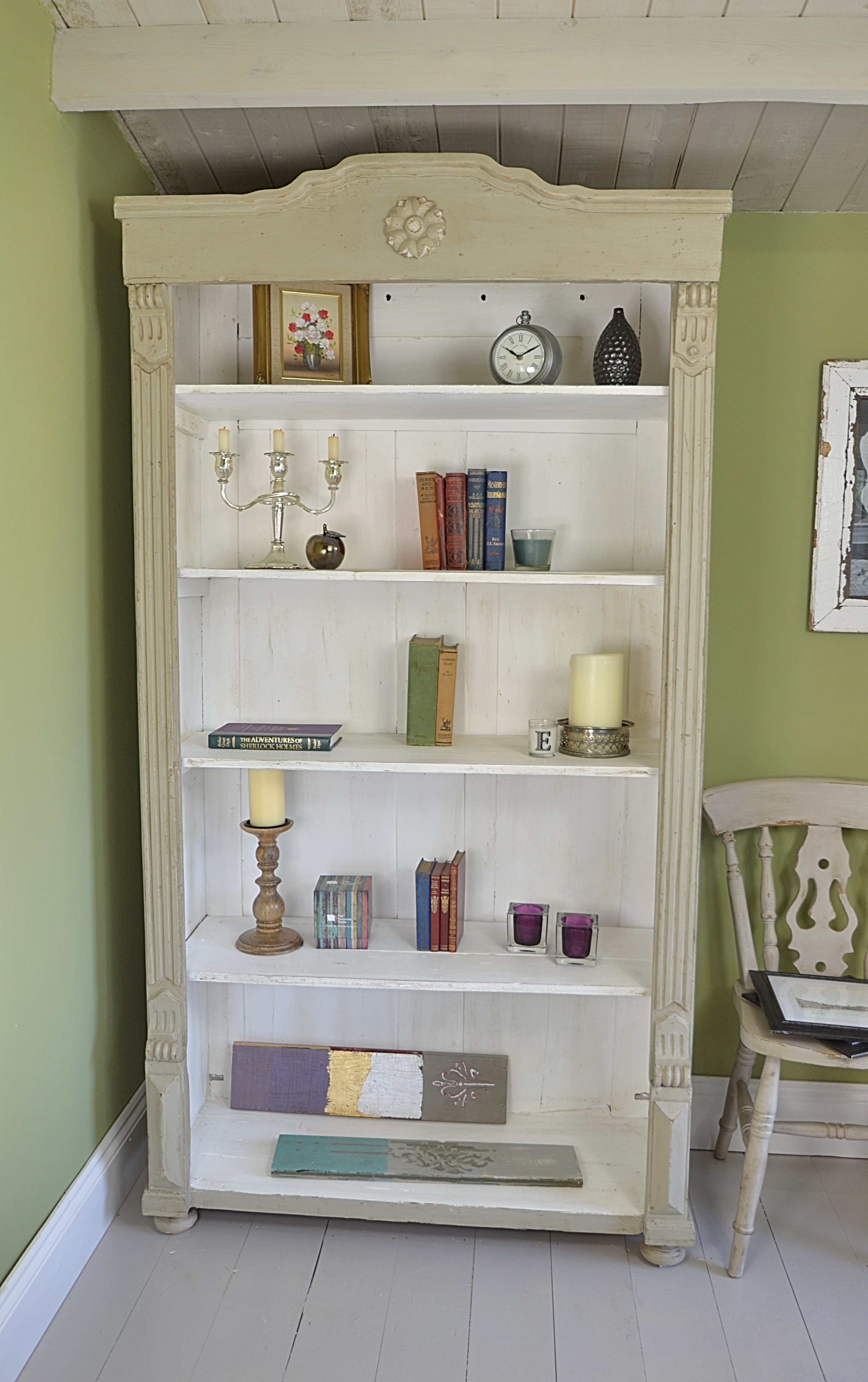 Chalk Painted Bookcase My Creations Pinterest Painted Throughout White Painted Bookcase (#6 of 15)