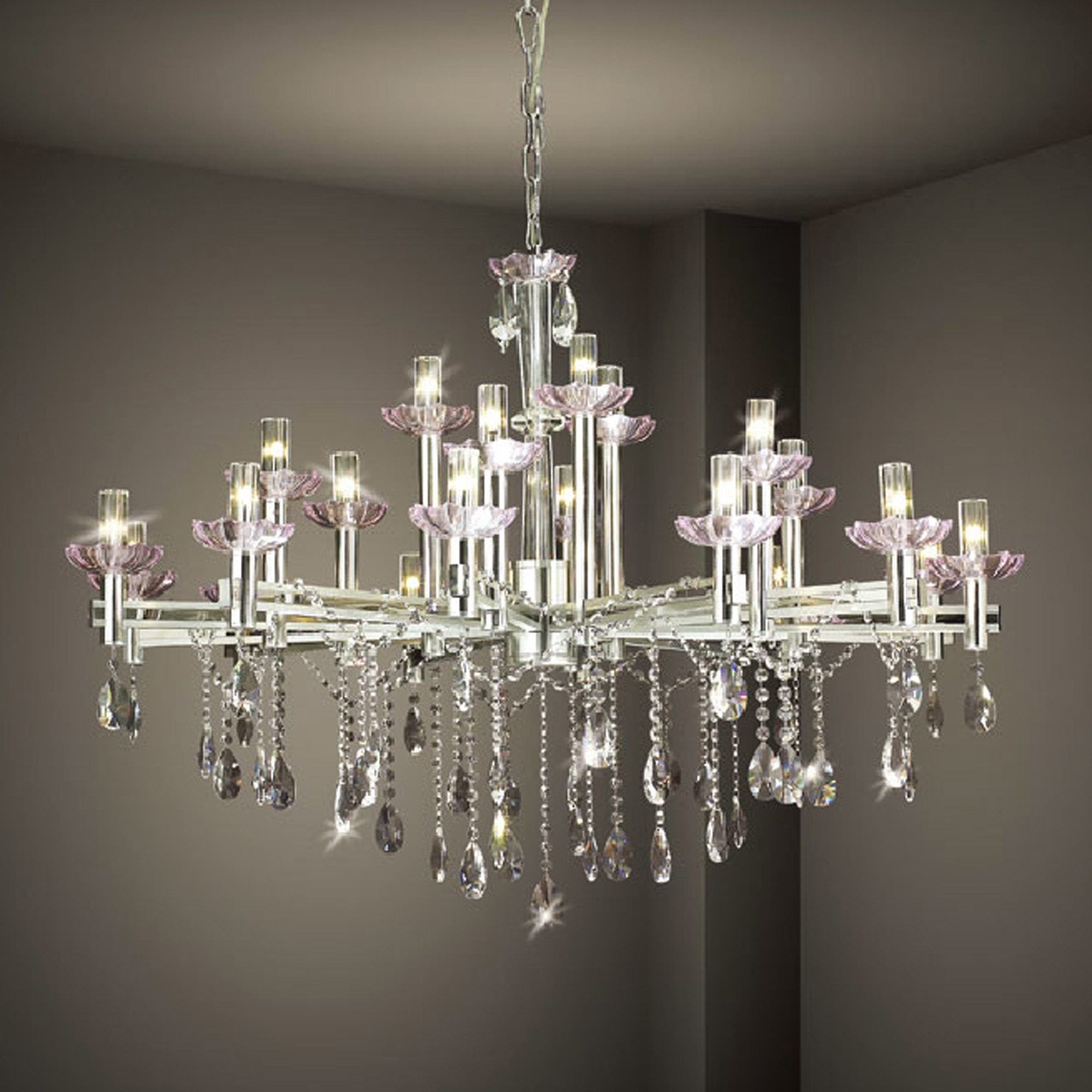 Chandelier Inspiring White Modern Chandelier White And Crystal Intended For Large Modern Chandeliers (#5 of 12)