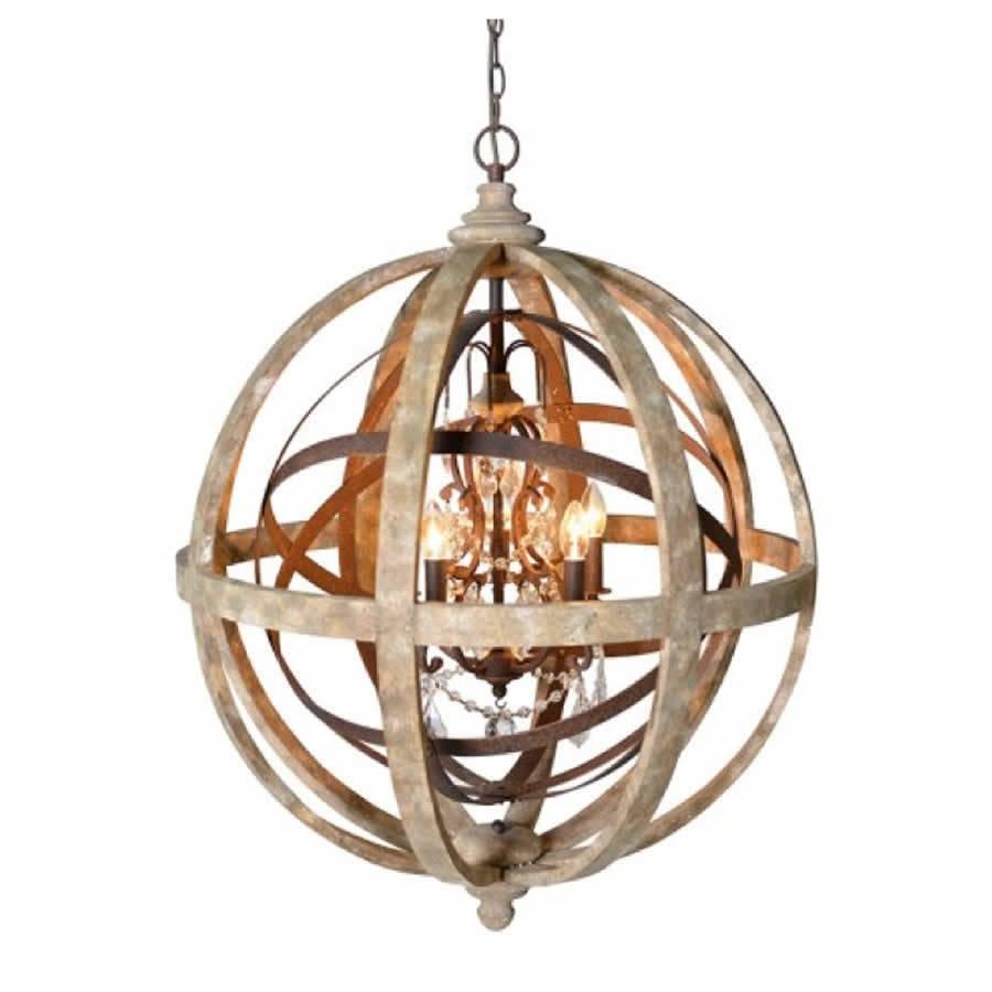 Chandeliers Glamorous Sphere Chandelier Wooden Orb Chandelier In Metal Sphere Chandelier (#4 of 12)