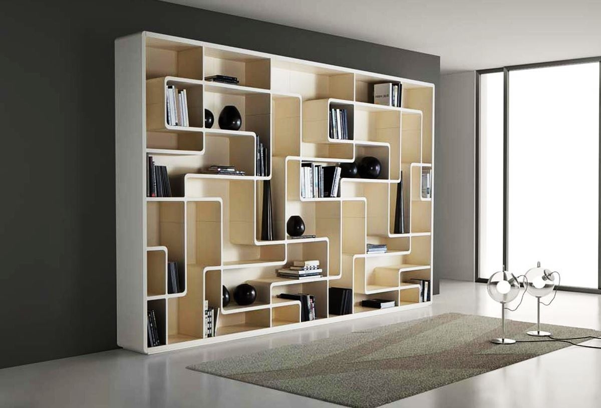 Charming White Wooden Bookshelf Design With Beautiful Curvy Inside Modern  Bookcases (#6 of 15